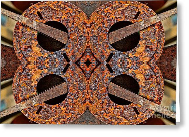 Saw Greeting Cards - Rusty Tools 1 - Tiled 4 Greeting Card by Debbie Portwood
