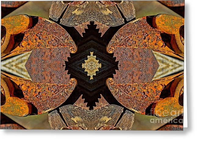 Saw Greeting Cards - Rusty Tools 3 Tiled 2 Greeting Card by Debbie Portwood