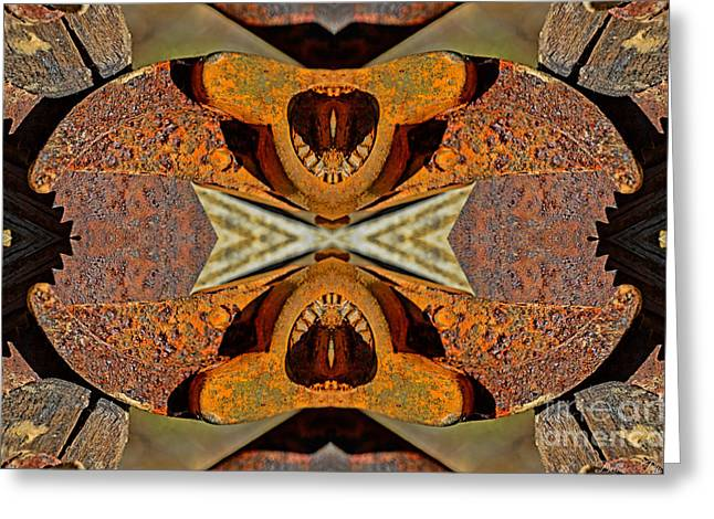Saw Greeting Cards - Rusty Tools 3 Tiled 3 Greeting Card by Debbie Portwood
