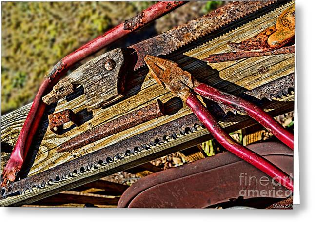 Saw Greeting Cards - Rusty Tools 4  Greeting Card by Debbie Portwood