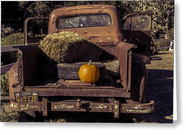 Orange Pumpkin Greeting Cards - Rusty Truck With Pumpkin Greeting Card by Garry Gay