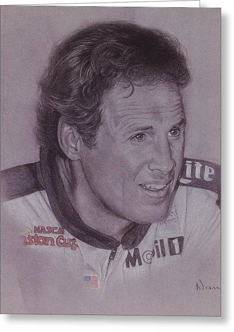 Photorealism Pastels Greeting Cards - Rusty Wallace Greeting Card by Nanybel Salazar