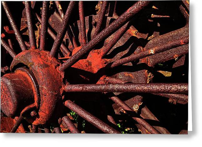 Rusty Wheel Greeting Card by Michelle Calkins