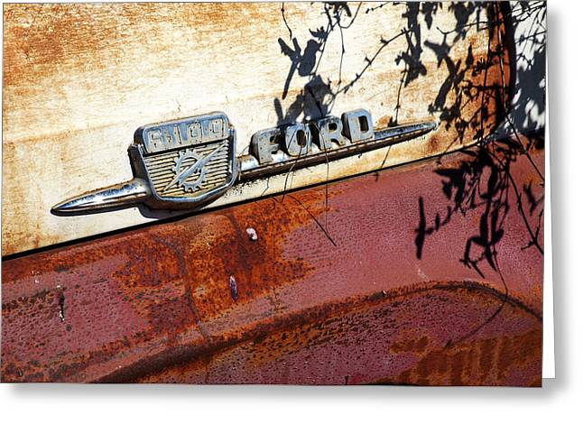 Rusted Cars Greeting Cards - Rustys Ford F 100 Greeting Card by Allen Carroll
