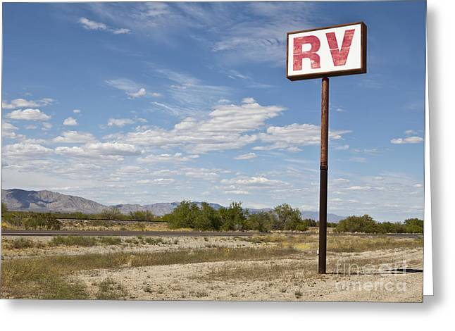 Rv Greeting Cards - RV Parking in the Desert Greeting Card by Paul Edmondson