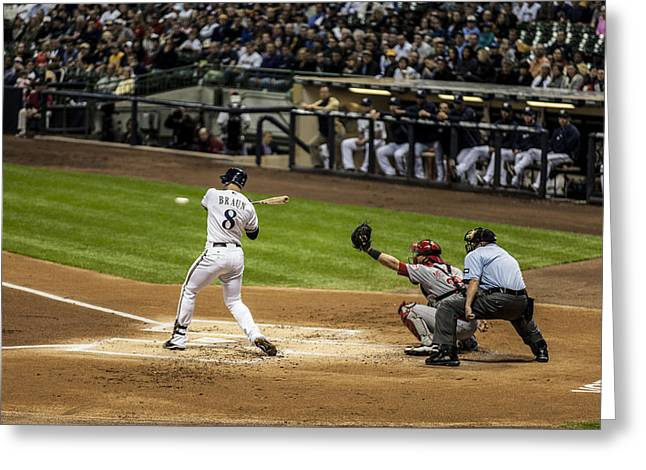 Miller Park Greeting Cards - Ryan Braun  Greeting Card by CJ Schmit