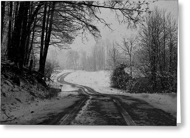 Sheds Greeting Cards - Ryan Road in the Snow Greeting Card by Kathryn Meyer