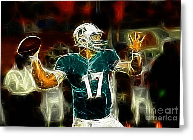 Ryan Tannehill - Miami Dolphin Quarterback Greeting Card by Paul Ward