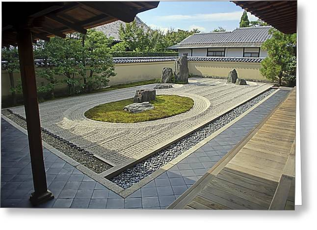 Kyoto Greeting Cards - Ryogen-in Zen Rock Garden - Kyoto Japan Greeting Card by Daniel Hagerman