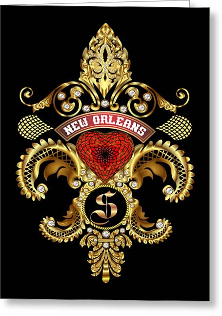 Enterprise Mixed Media Greeting Cards - S-Fleur-de-lis New Orleans Transparent Back Pick Color Greeting Card by Bill Campitelle
