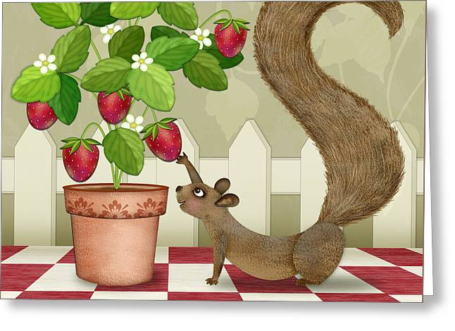 S Is For Squirrel Greeting Card by Valerie Drake Lesiak