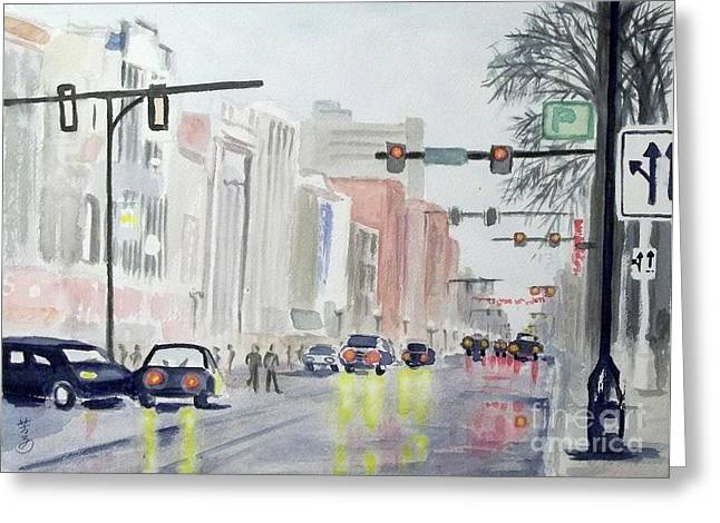City Scapes Framed Prints Greeting Cards - S. Main Street in Ann Arbor Michigan Greeting Card by Yoshiko Mishina