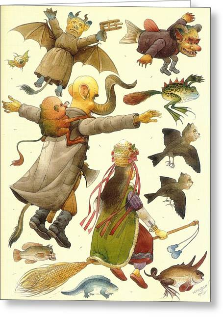 Sorcery Greeting Cards - Sabbath Greeting Card by Kestutis Kasparavicius