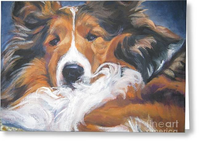 Sheepdog Greeting Cards - Sable Shetland Sheepdog Greeting Card by Lee Ann Shepard