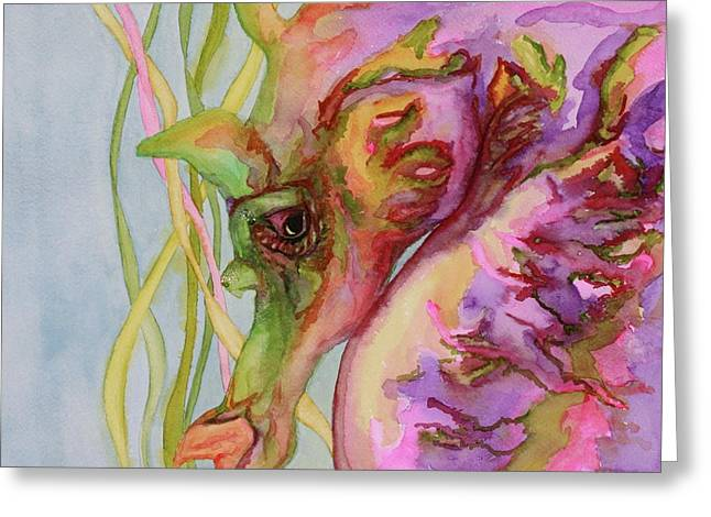 Prescott Paintings Greeting Cards - Sable the Seahorse Greeting Card by Gayle  George