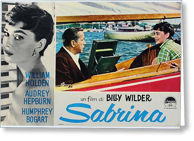 1954 Movies Greeting Cards - Sabrina - Audrey Hepburn - Italian Version Greeting Card by Nomad Art And  Design