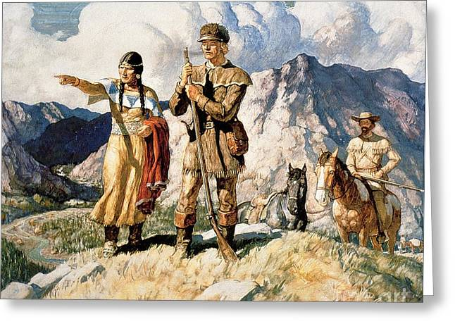 First Greeting Cards - Sacagawea with Lewis and Clark during their expedition of 1804-06 Greeting Card by Newell Convers Wyeth