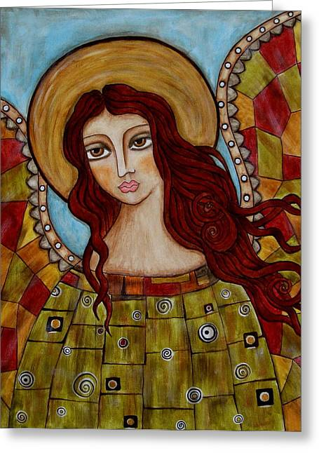 Religious Art Paintings Greeting Cards - Sachael Greeting Card by Rain Ririn