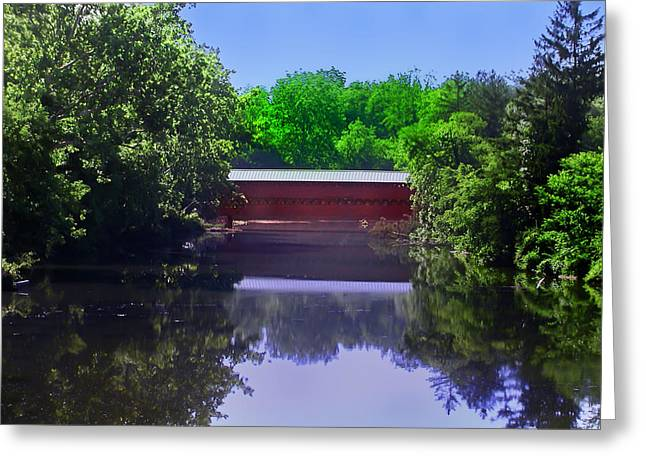 Landscape Posters Greeting Cards - Sachs Covered Bridge in Gettysburg  Greeting Card by Bill Cannon