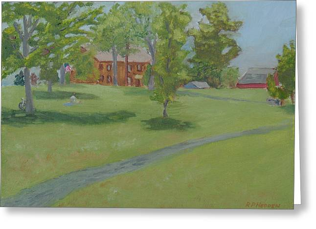 Battlefield Site Paintings Greeting Cards - Sackets Harbor Battlefield-High Noon Greeting Card by Robert P Hedden