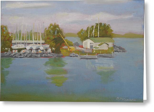Battlefield Site Paintings Greeting Cards - Sackets Harbor Dry Dock Greeting Card by Robert P Hedden