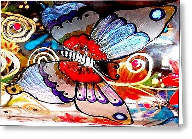 Iridescent Glass Greeting Cards - Sackettdoodles Butterfly Greeting Card by Deborah jordan Sackett