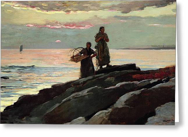 On The Beach Greeting Cards - Saco Bay Greeting Card by Winslow Homer