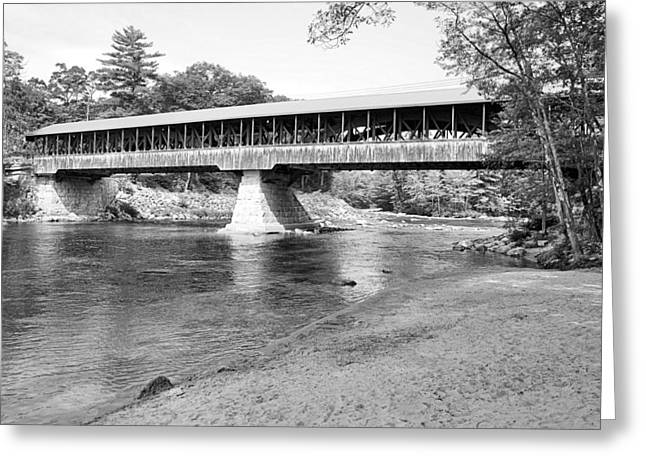 New England Village Greeting Cards - Saco River Covered Bridge in Black and White Greeting Card by James Potts