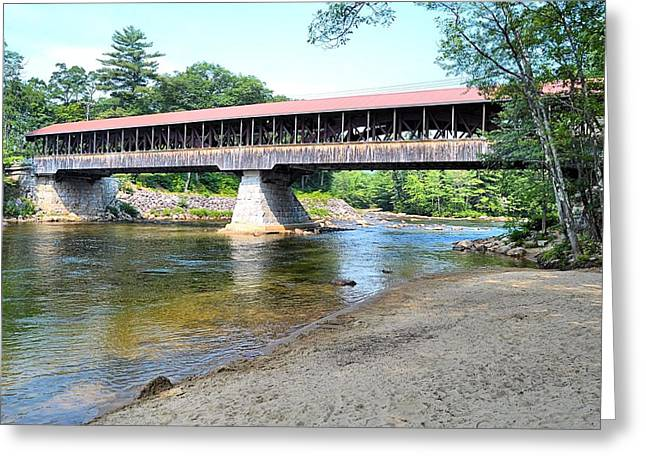 New England Village Greeting Cards - Saco River Covered Bridge Greeting Card by James Potts