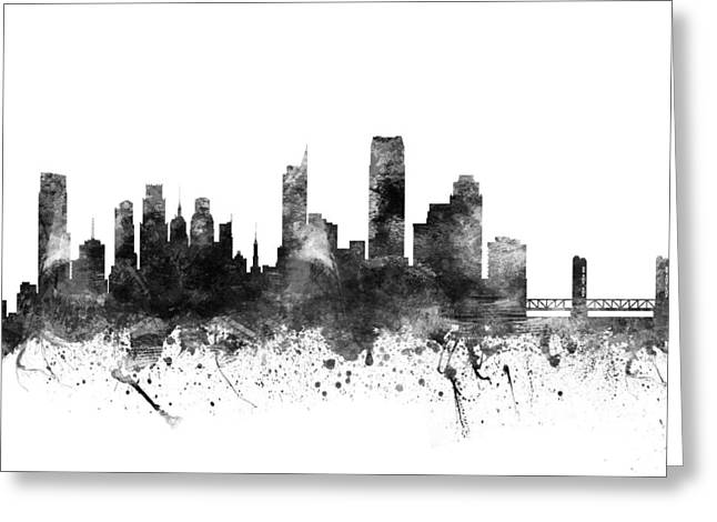Grunge Drawings Greeting Cards - Sacramento California Cityscape 02BW Greeting Card by Aged Pixel