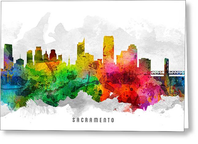 High Rise Greeting Cards - Sacramento California Cityscape 12 Greeting Card by Aged Pixel