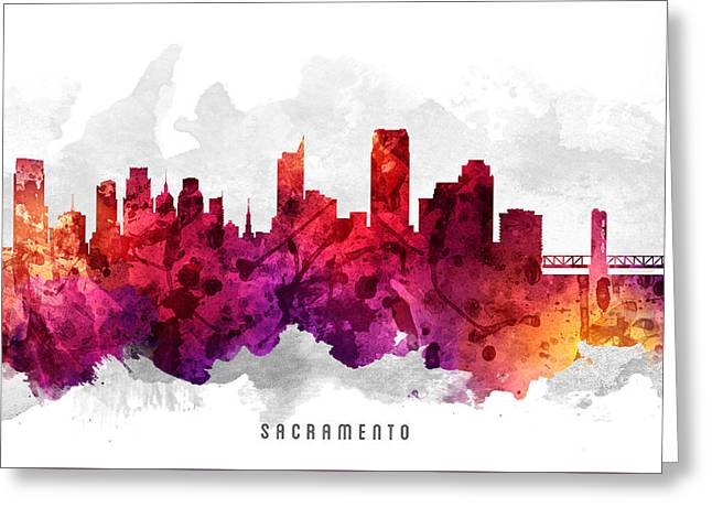 Sacramento Greeting Cards - Sacramento California Cityscape 14 Greeting Card by Aged Pixel