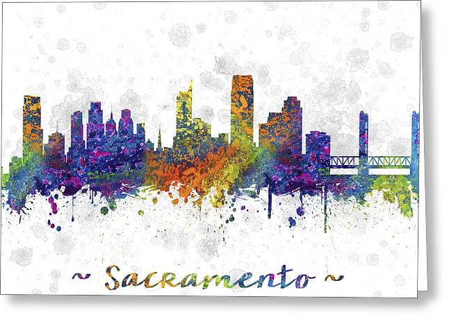 Sacramento Greeting Cards - Sacramento California Skyline Color 03SQ Greeting Card by Aged Pixel
