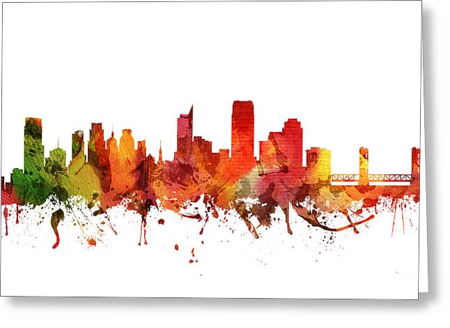 Sacramento Greeting Cards - Sacramento Cityscape 04 Greeting Card by Aged Pixel