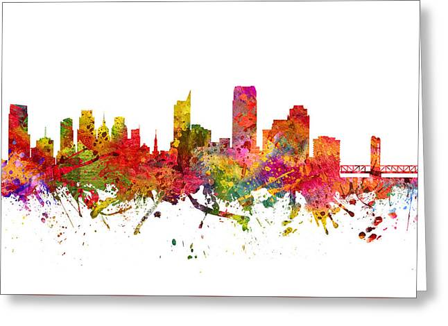 Sacramento Greeting Cards - Sacramento Cityscape 08 Greeting Card by Aged Pixel