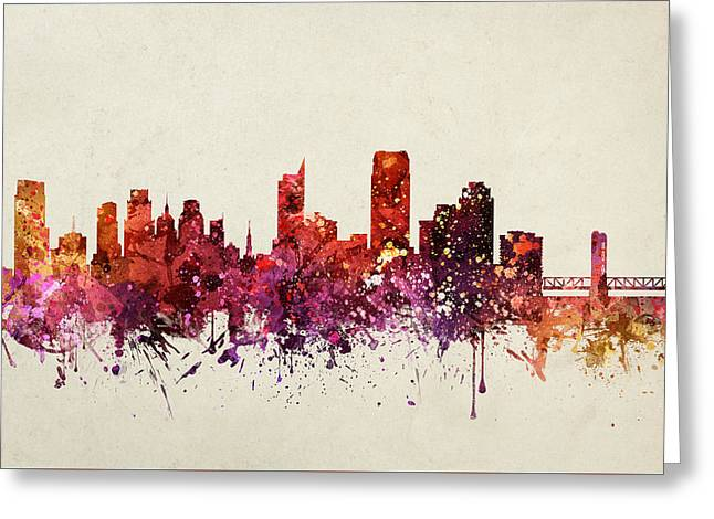 Sacramento Greeting Cards - Sacramento Cityscape 09 Greeting Card by Aged Pixel