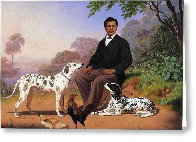 Sacramento Indian With Dog Greeting Card by Charles Christian