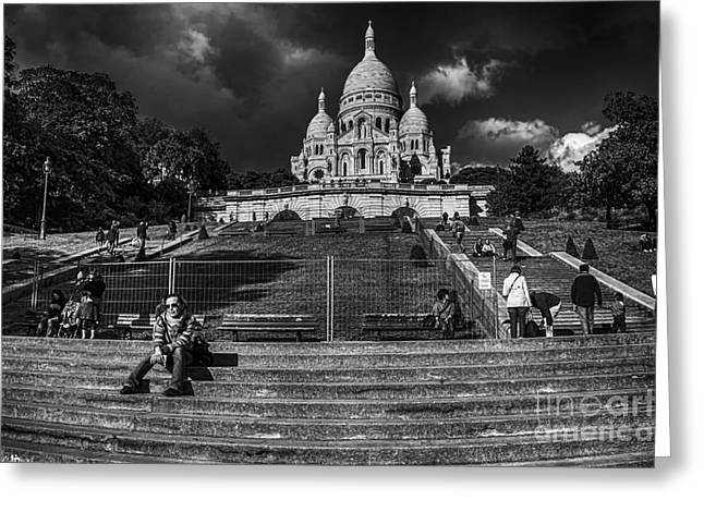 Martyr Greeting Cards - Sacre-Coeur Greeting Card by Charuhas Images