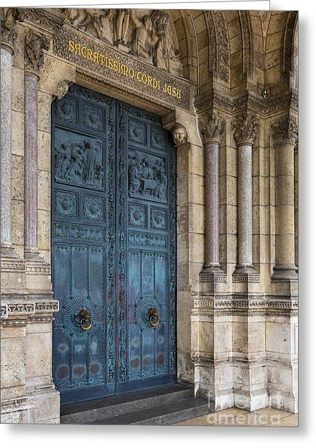 French Doors Greeting Cards - Sacre Coeur Door Greeting Card by Brian Jannsen