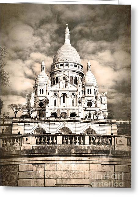 Famous Cities Greeting Cards - Sacre Coeur sepia Greeting Card by Jane Rix