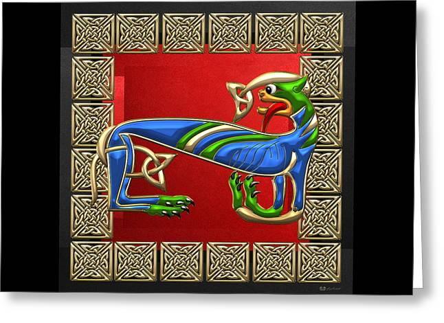 Sacred Celtic Lioness On Red And Black Greeting Card by Serge Averbukh