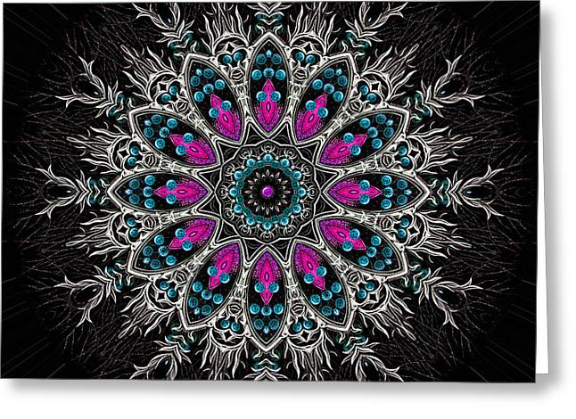 Religious Tapestries - Textiles Greeting Cards - Sacred Flower Mandala Greeting Card by Marcus Mattern