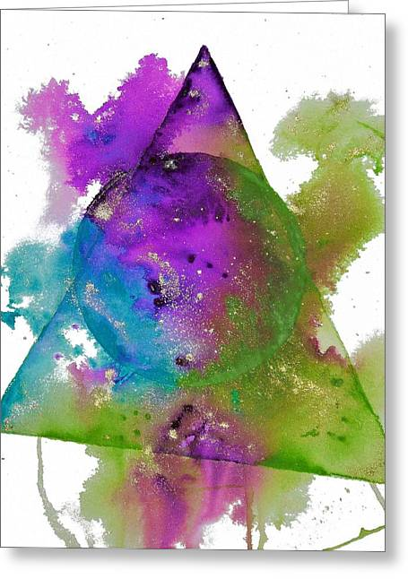 Wet Into Wet Watercolor Greeting Cards - Sacred Geometry Greeting Card by Chris Blevins