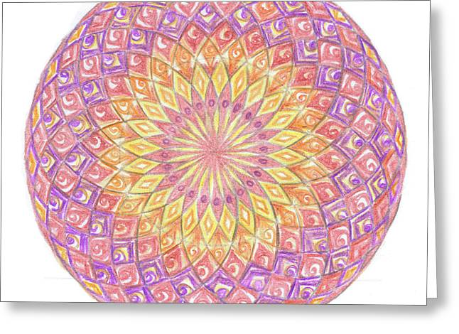Sacred Drawings Greeting Cards - Sacred geometry sixth dimension Greeting Card by Cveta Dinkova