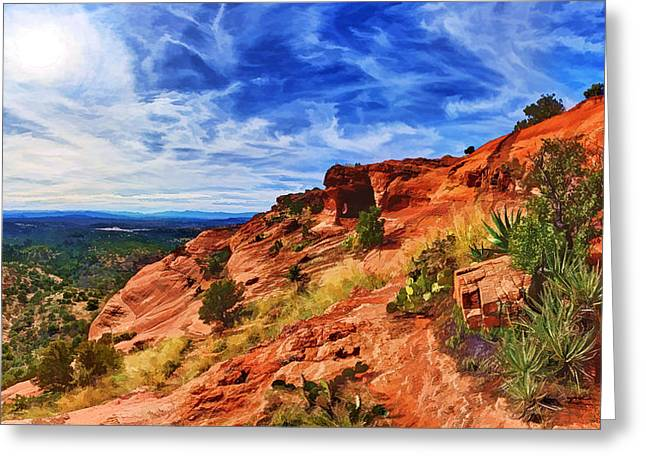 Colorful Cloud Formations Greeting Cards - Sacred Ground - Shamans Cave Approach Greeting Card by Bill Caldwell -        ABeautifulSky Photography