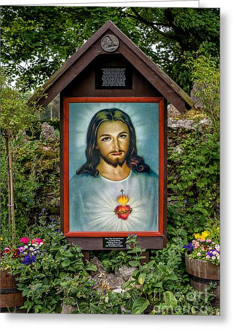 Plaque Greeting Cards - Sacred Heart Greeting Card by Adrian Evans
