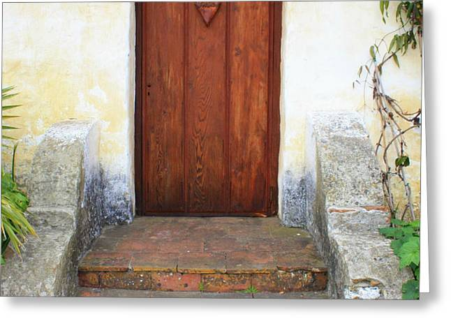 Sacred Heart Door Greeting Card by Carol Groenen