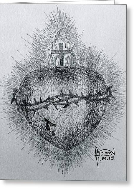 Sacred Drawings Greeting Cards - Sacred Heart Greeting Card by Fanny Diaz
