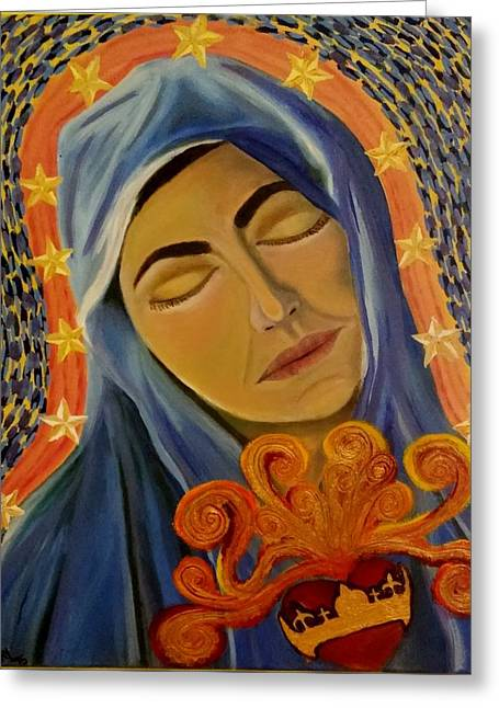 Recently Sold -  - Rosary Greeting Cards - Sacred Heart of Mary Queen of Heaven Greeting Card by Teresa Hay