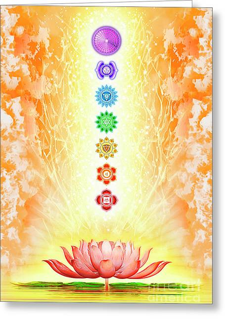 Sacred Lotus - The Seven Chakras Greeting Card by Dirk Czarnota